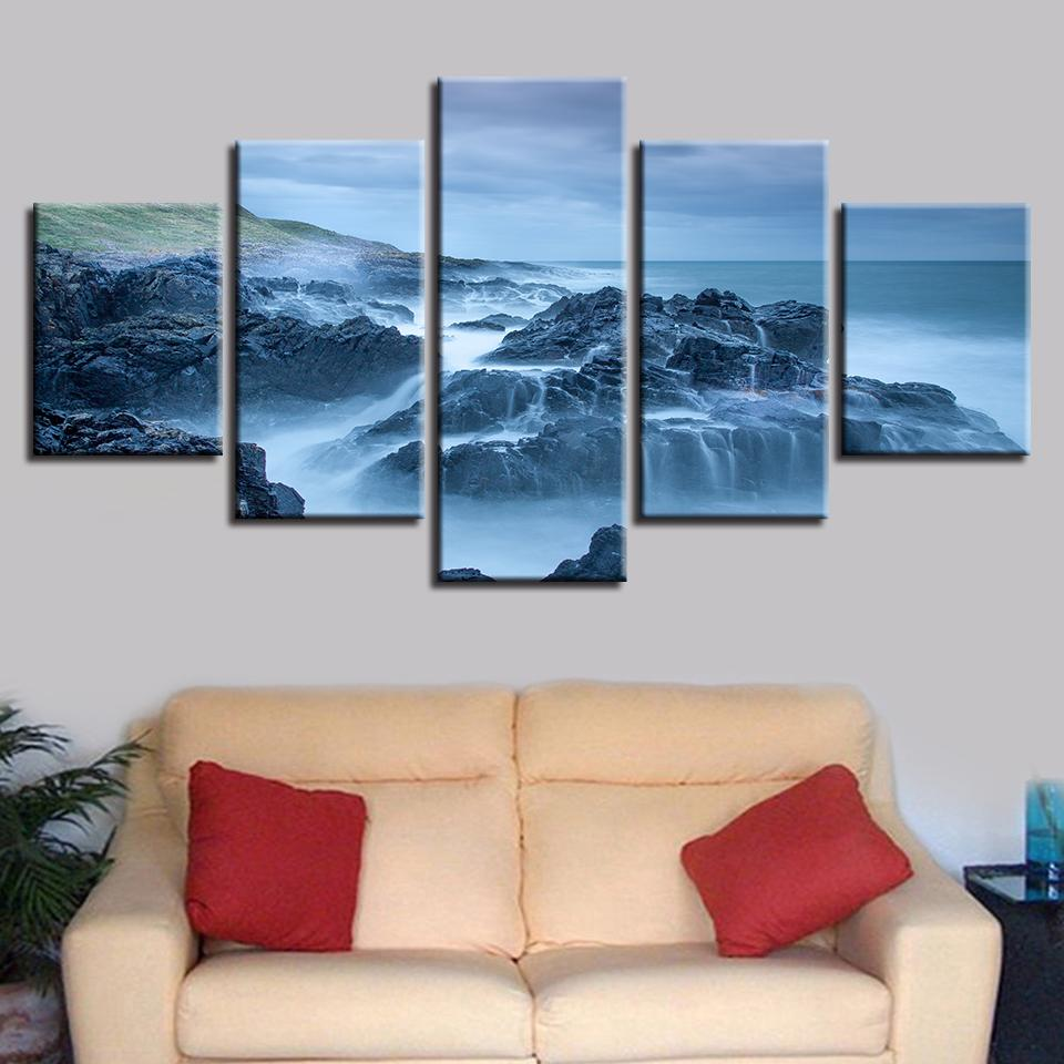 HD Printed Poster Wall Art Framework 5 Pieces Wave Lashed Against The Rocks Seascape Painting Modular Canvas Pictures Home Decor