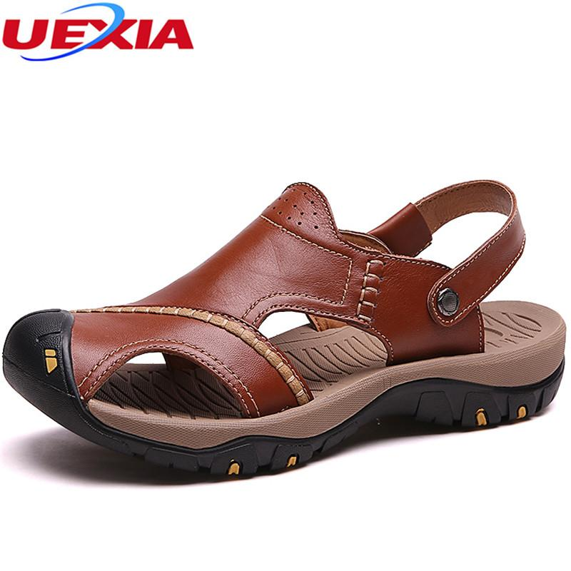 GroBartig Uexia 2018 Summer Menu0027S Leather New Style Casual Men Sandals Slippers  Summer Beach Casual Men Sandals Shoes Beach Flip Flops Wedding Shoes Wedges  From ...