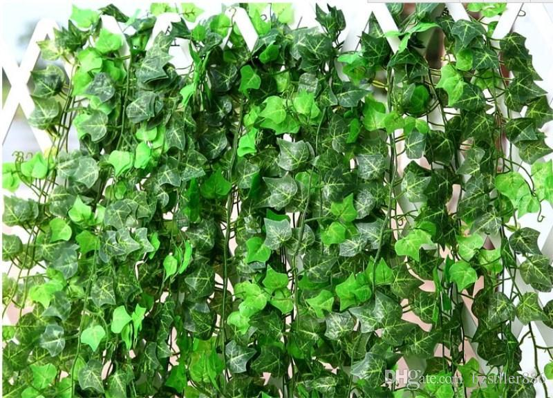"98""250 cm New Artificial Silk Simulation Climbing Vines Flower Green Leaf Ivy Rattan for Home Wall Decor Bar Party Decoration"