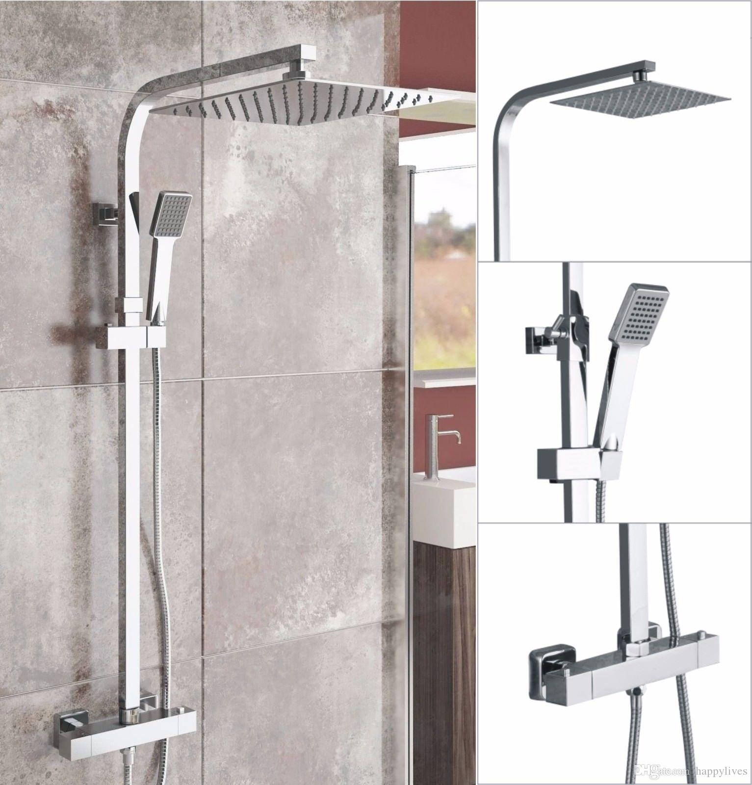 Thermostatic Shower Mixer Square Chrome Bathroom Exposed Twin Head ...