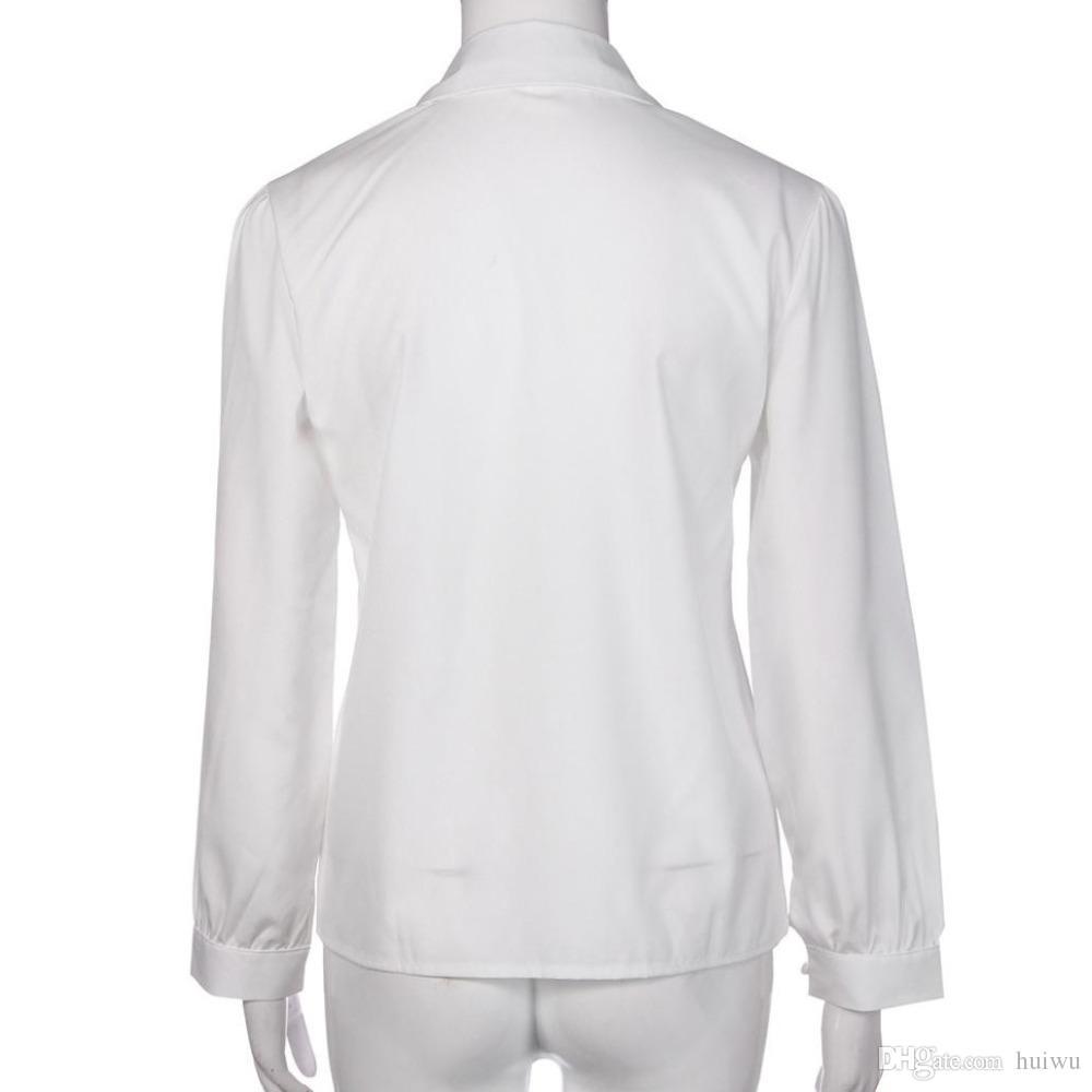 المرأة كم طويل بلوزة عارضة الصلبة التلبيب بلوزة قميص النساء بدوره إلى أسفل الياقة منتظم Blusas قميص فام المانش لونغ
