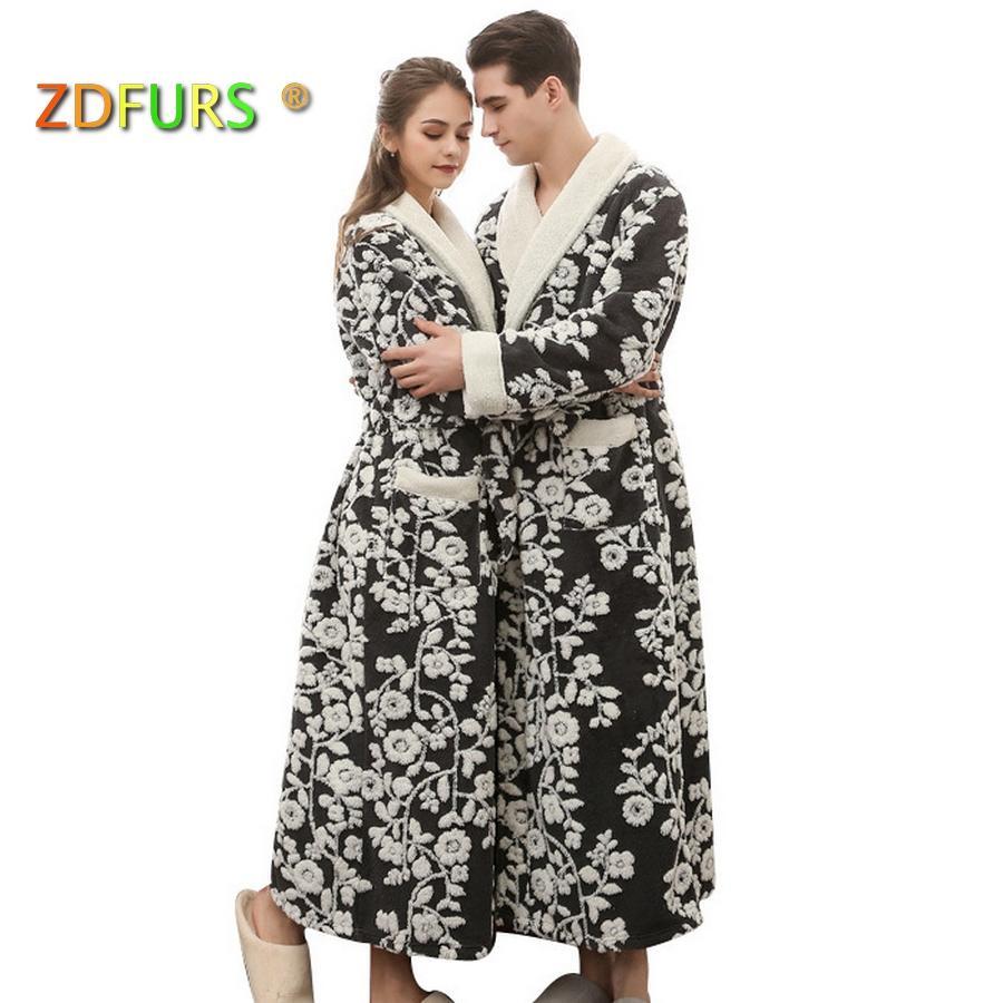 fa4385682d ZDFURS   New Lovers Long Flower Coral Fleece Bathrobe Men Winter ...