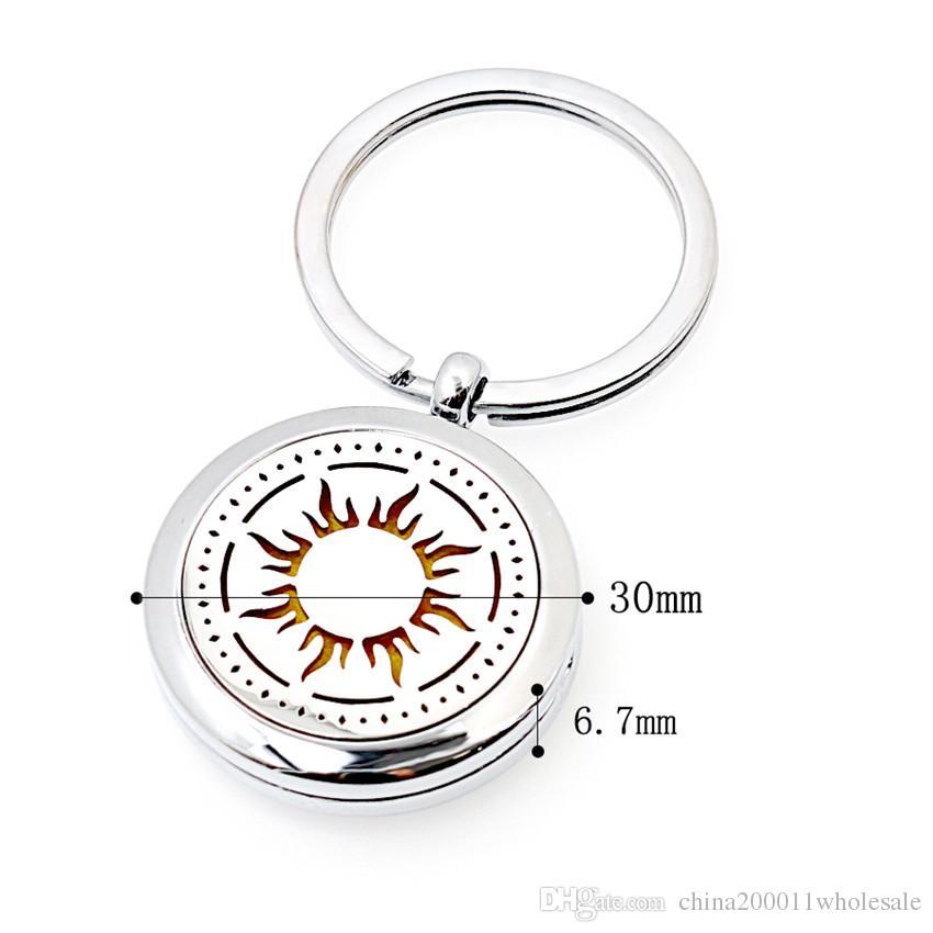 More Options Crown Keyring Magnetic Aroma Essential Oil Diffuser Locket Key chain Perfume Locket Keyrings Pads Random