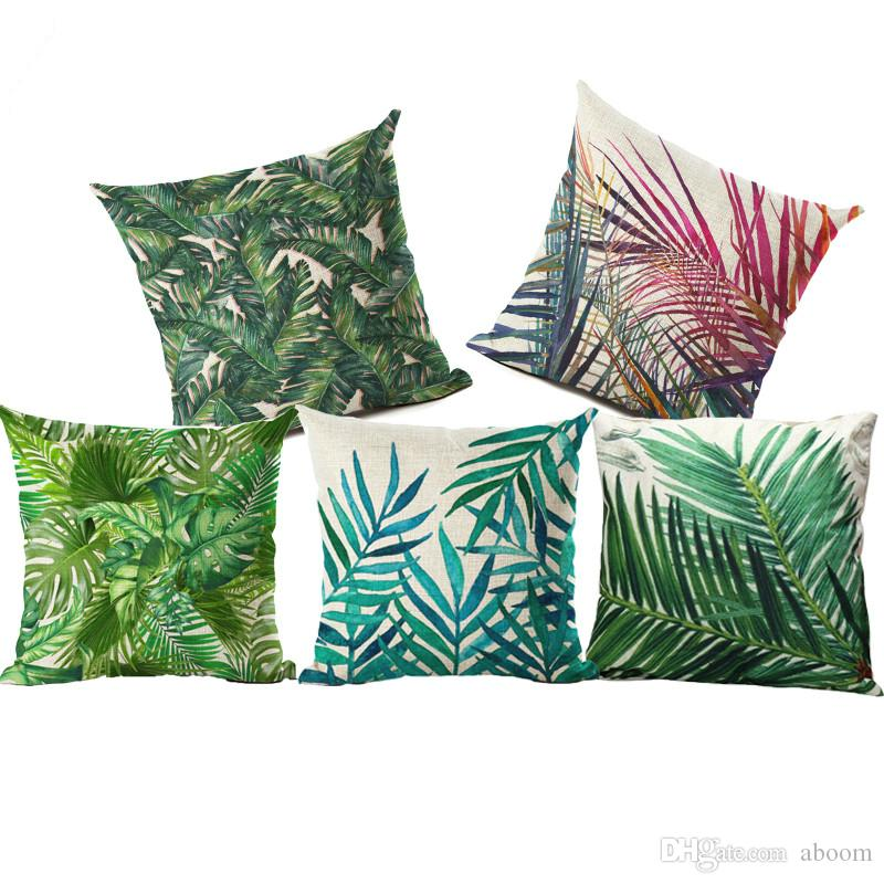 Plant Cushion Cover Tropic Tree Green Throw Pillow Case Flamingo