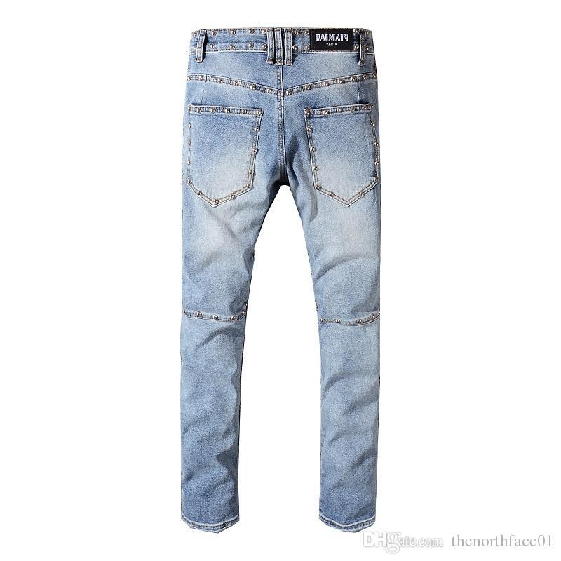 Balmain New Fashion Ripped jeans para hombre deshilachado para hombre destruido Slim biker jeans casual skinny pants lavado bule color swag overoles pantalones