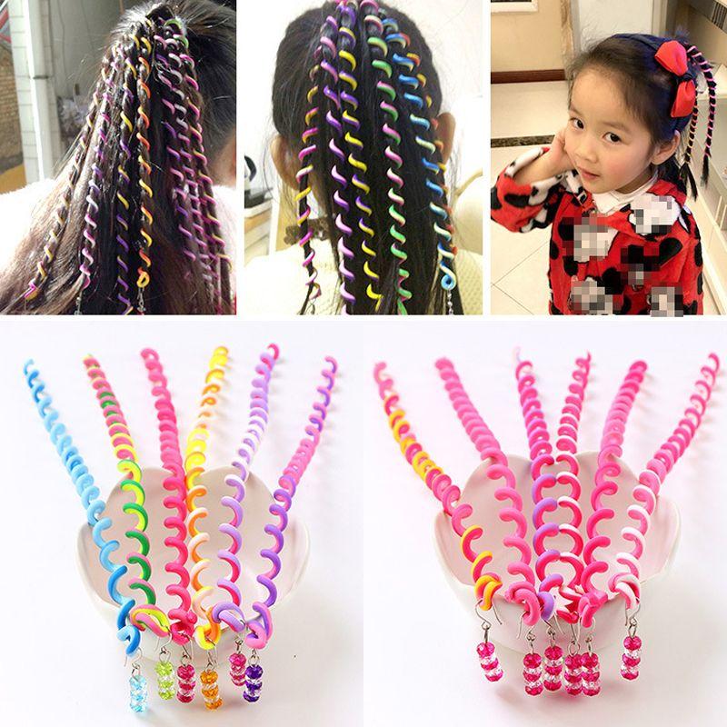 6 torcedura niñas Color de pelo Herramienta de bricolaje con estilo Accesorios para el cabello con perlas multicolor niños manera rizada tejido B001 banda de pelo de la correa