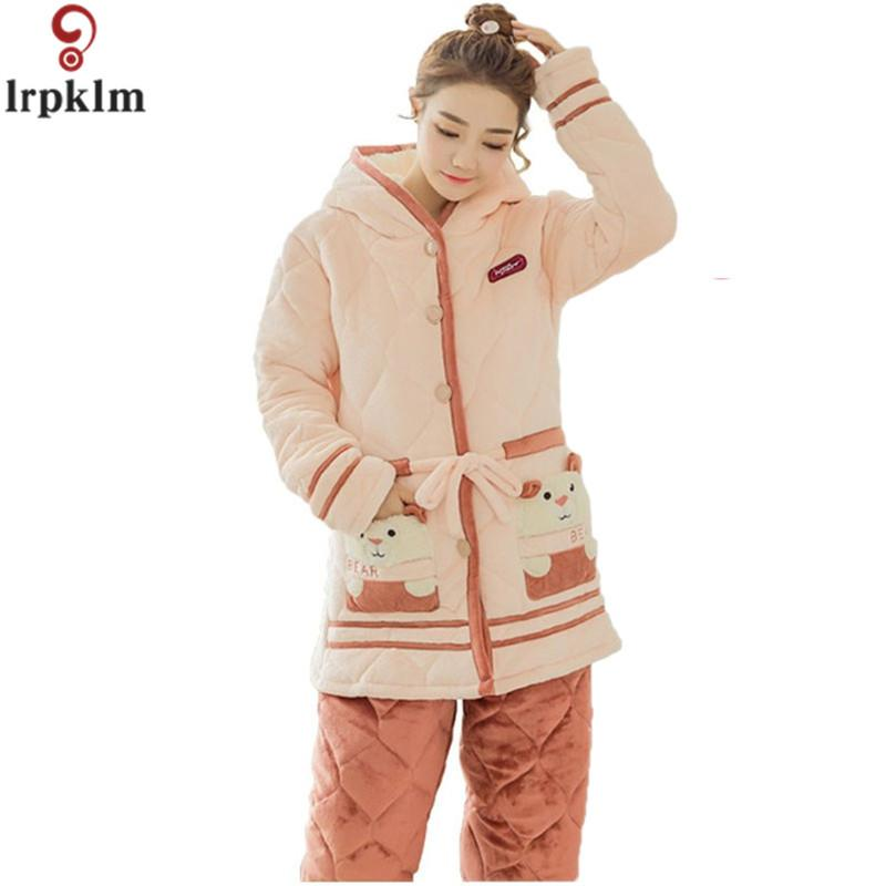 3551e719fc2 2019 New Arrival Womens Winter Pajamas Sets Warm Coral Fleece Pyjamas For  Autumn Winter Hooded Coat And Pants Homewear M XL SY648 From Longmian
