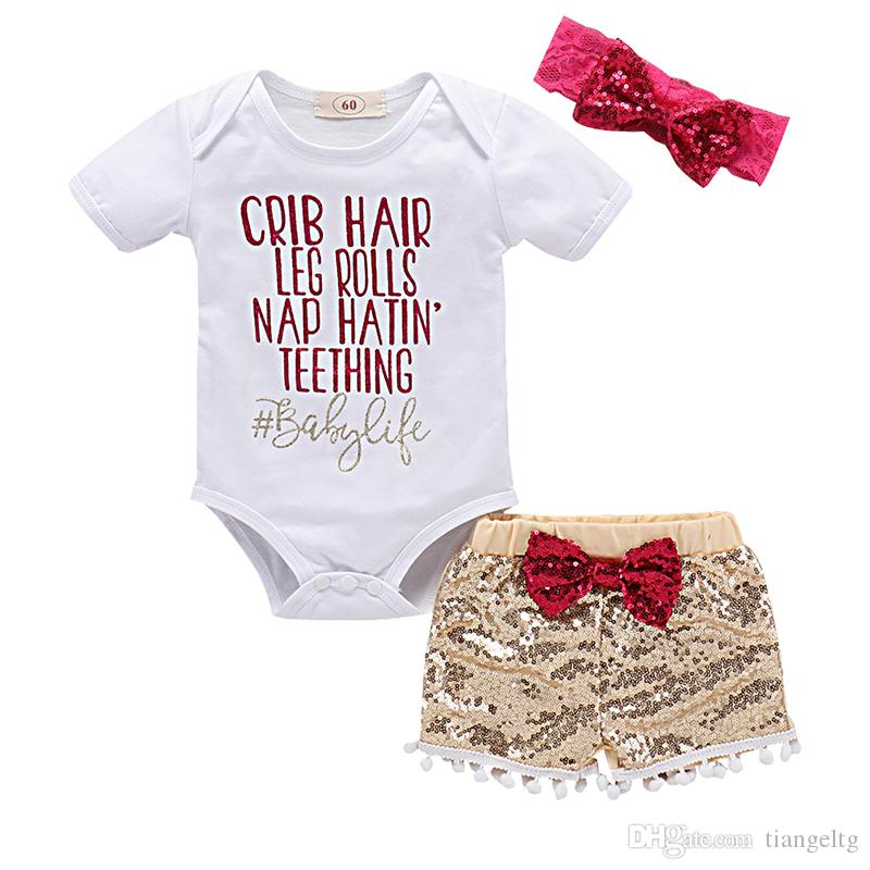 Girls Clothing Sets 3-pcs DREAMER Printing T-shirt TUTU Shorts Short Sleeve Sequins Shorts Headband Hairband Cotton Summer Outfits 0-18M