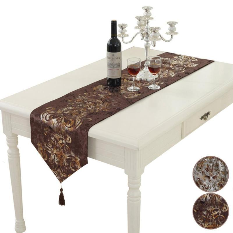Europe Polyester Embroidered Table Runner Floral Table Runner Modern