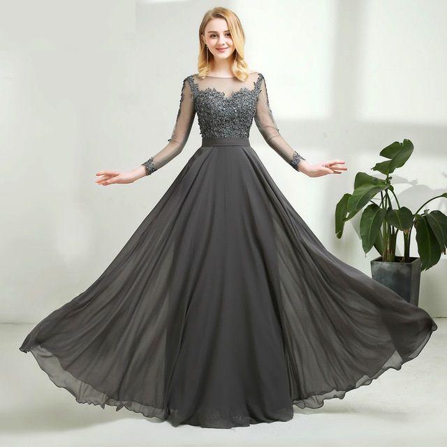 f3fa0346b3 Vestidos Longos Para Casamento Vestido De Festa Cinza Chiffon Vestido De  Noite Longo Sexy Aberto De Volta Mangas Cheias De Renda Vestidos De Baile  Vestido ...