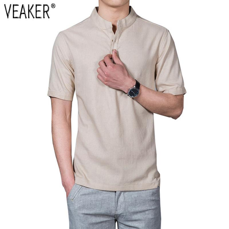 fa151d5f5 2018 New Men's Stand Collar t shirt Chinese Style Solid Color Short Sleeve t -shirt Tops Flax Linen T Shirts Plus Size 5XL