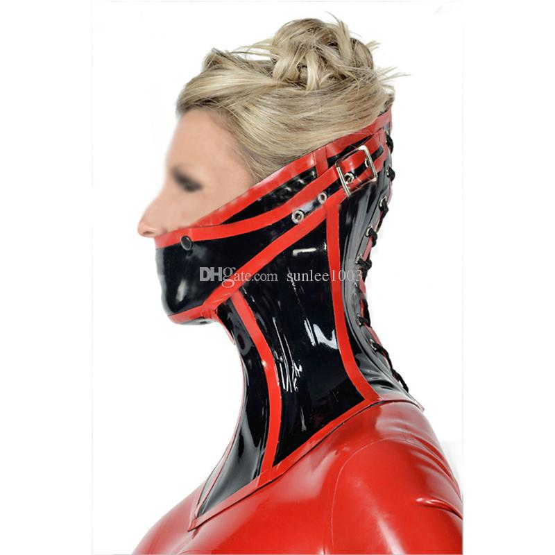 100% Pure Natural Latex Sexy Jew Style red black lacing Women Hoods Contains mouth-muffle and Collars Rubber Fetish Mask Cosplay Party Wear