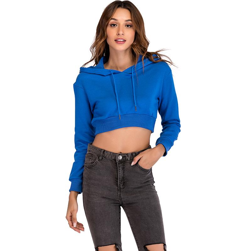 540befd008b8 Sexy Women Autumn Cropped Hoodies Solid Long Sleeve Drawstring Pullover Top  Casual Ladies Hoody Sweatshirt Female Crop Top Online with  44.75 Piece on  ...