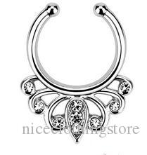 Fashion Fake Septum Medical Titanium Nose Ring Studs Piercing Silver Crystal Indian Body Clip Hoop For Women Girls Jewelry Gift