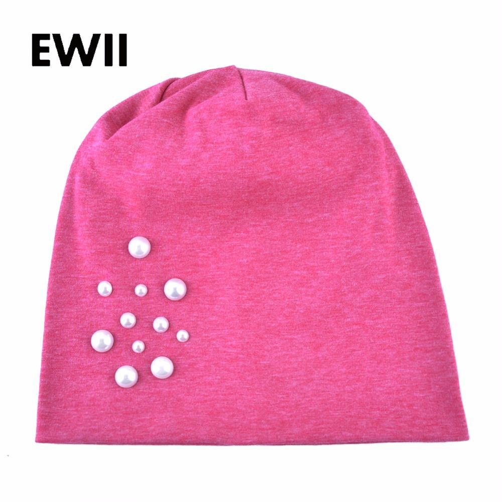 b5fd0526d77 Autumn Pearl Cap Skull Beanie Caps Women Bonnet Brand Beanies for ...