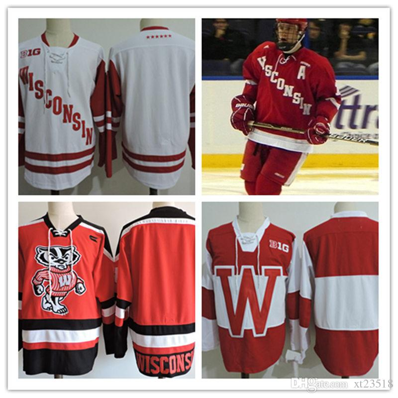 Acquista Mens NCAA Big Ten Wisconsin Badgers College Hockey Maglie Adulti  Bianco Rosso Cucita Wisconsin Badgers Jersey S 3XL A  29.07 Dal Xt23518  3a6a5584231