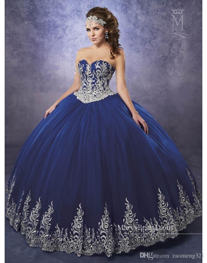 a0f5701a71a 2019 Royal Blue Quinceanera Dresses Sweetheart Vestidos De Quinceaner Lace  Appliques Ball Gown Prom Dress Sweet 16 Dresses Dresses 15 Dresses For ...