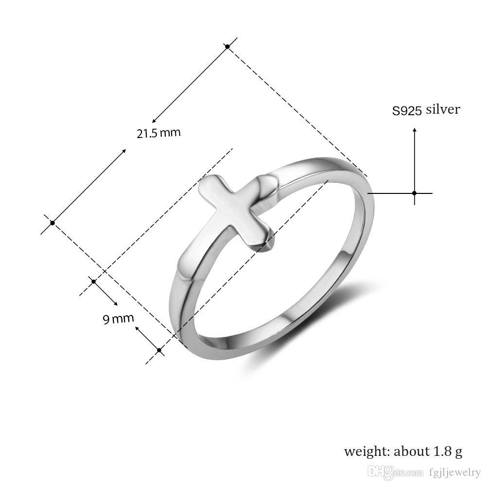 Fournisseurs de la chine nouveaux designs pas cher pur 925 en argent sterling de la mode des femmes Jésus bijoux simple croix anneau