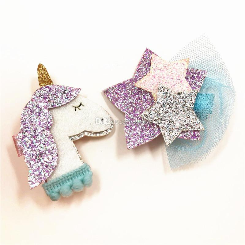 Nueva moda 6 estilos elegir libre ins Shining Dimensional Unicorn Star Girls Hair Clips Kids Hairpins girls clips de animales envío gratis