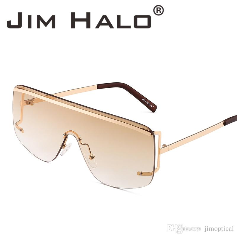 049d36ea848 Jim Halo Oversized Shield Sunglasses Flat Top Gradient Lens Sun Glasses  Fashion Rimless Eyeglasses Women Men Cheap Eyeglasses Sunglasses Shop From  ...
