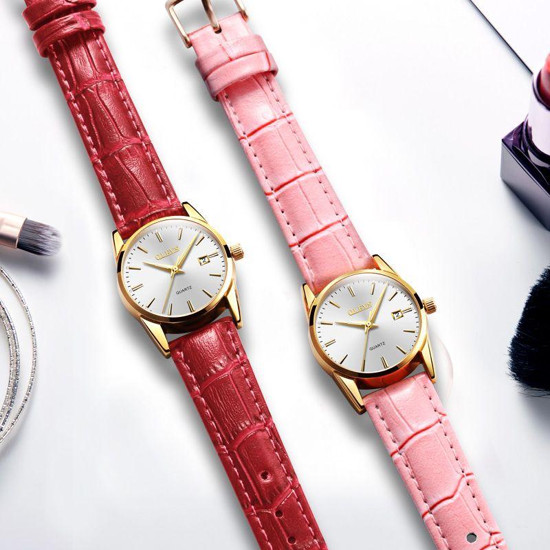 9557cacde73 Compre Casal Relógios Olevs Marca Amantes Assista Homens De Ouro Subiu  Relógios De Pulso De Couro À Prova D  água Senhora De Quartzo Relógio De  Pulso Reloj ...