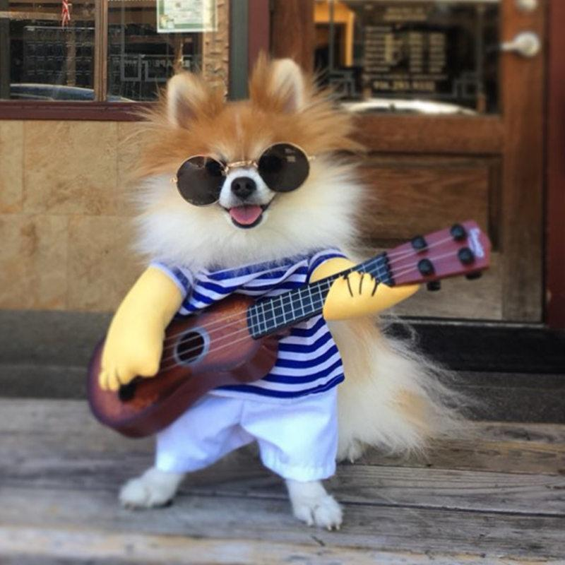 2018 Guitar Dog Clothes Funny Pet Christmas Costume For Small Medium ...