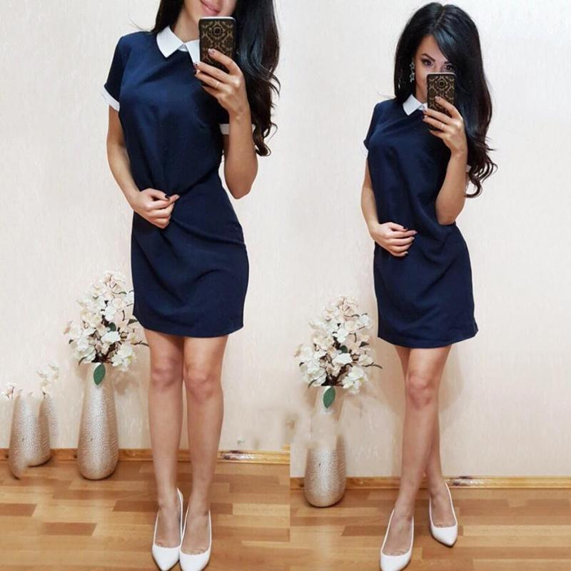 81d6548a8c 2018 New Women Office Work White Collar OL Shirt Dress Summer Short Sleeve  Party Navy Blue Pink Straight Dress Mini Vestidos Sun Dress Cheap Dresses  Online ...