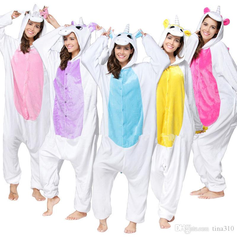 Animale all'ingrosso Unicorn Panda Bear Koala Pikachu Adulto Unisex Cosplay Costume Pigiama Indumenti Da Notte Uomo Donna T2I133