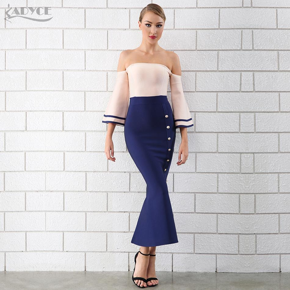 20187 Adyce 2018 New Style Women Bandage Dress Strapless Button Studded  Sexy Mermaid Maxi Dress Vestidos Celebrity Party Dresses Teen Party Dresses  ... 7c43b2a10724