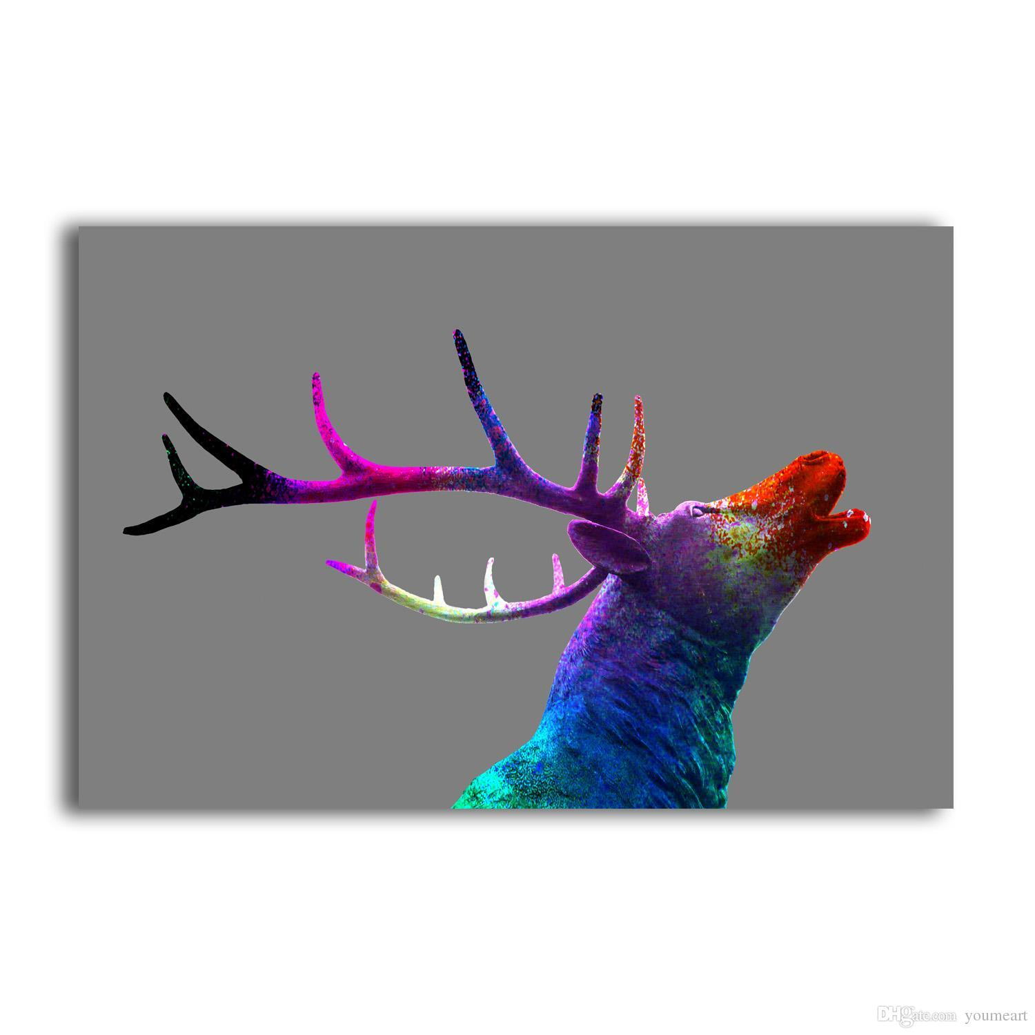 YJ ART A colorful deer head Unframed Modern Canvas Wall Art for Home and Office Decoration, Animal ,Frame painting prints