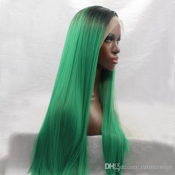 High Quality Ombre Black To Green Wig For Black Women Heat Resistant Long  Straight Glueless Synthetic Lace Front Wig Green Ombre Remy Lace Front Wig  Styling ... 9929b3de2d