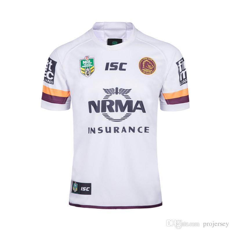 2019 NRL BRISBANE BRONCOS 2018 AWAY WHITE JERSEY From Projersey ... d8a085626
