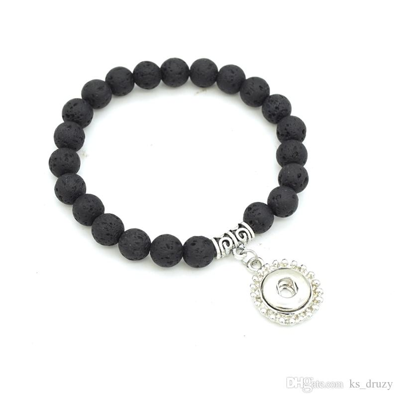 6 Styles 8mm Black Lava Stone Beaded Bracelet DIY Essential Oil Diffuser Bracelet Volcanic Rock Hand Strings fit 12MM 18MM Snap Button Charm