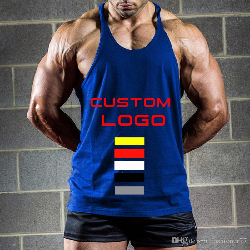 1ff3f241b10e20 Men Singlet Gym Custom Stringer Tank Tops Bodybuilding Vest Muscle Shirt  Yellow Black Red White Blue Grey Clothes T Shirt Crazy T Shirts Designs  From ...