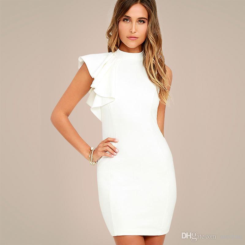 33938e9cd0cb 2019 White OL Elegant Bodycon Party Dresses 2018 Women One Side ...