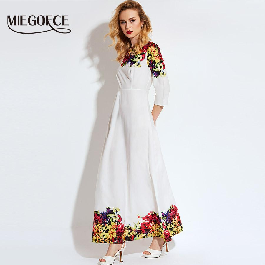 907b8d584fc3 2019 Miegofce 2018 White Floral Ankle Length Summer Dress With Quarter  Sleeve Vestido Vestidos De Fiesta Maxi Dress Long From Silan, $33.65 |  DHgate.Com