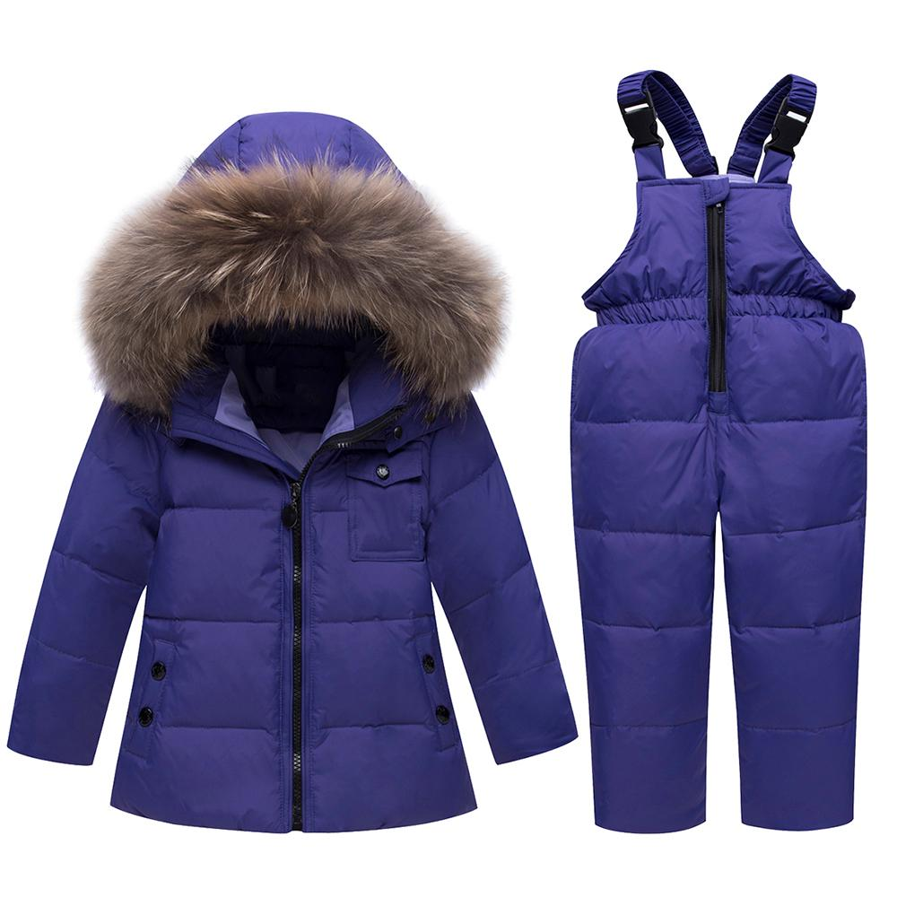 1c1efa6efdef Children Duck Down Jackets+Bib Pant Snowsuit Winter Overalls For Boys Girls  Kids Warm Jackets Toddler Outerwear Baby Suits Kids Wool Coat Toddler Girl  Coats ...