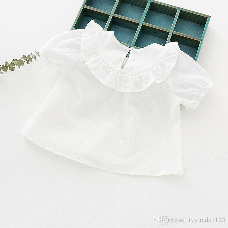 NUEVA llegada ropa para niños Vendedores de verano Camisa de manga corta de color sólido Camisa del bebé niños niños O-cuello camisa de niña 100% camisa de algodón es