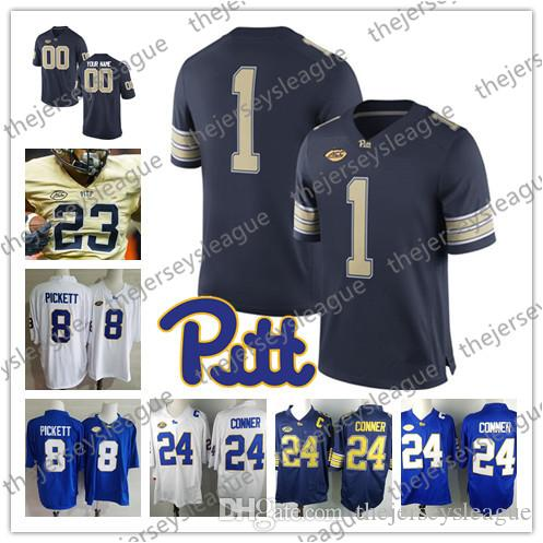 21cb19520 2018 Pittsburgh Panthers Pitt Custom Any Name Any Number Navy Blue White  Gold Stitched  1 Larry Fitzgerald 8 Kenny Pickett NCAA College Jerseys From  ...