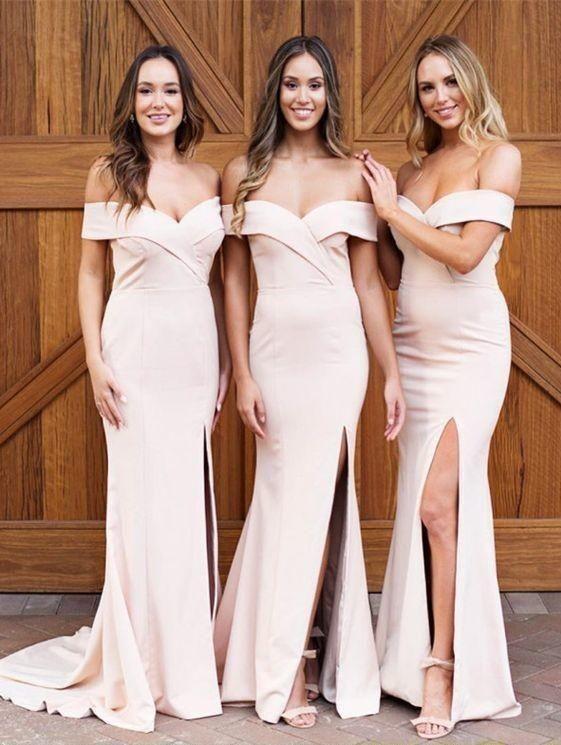 3a0339717c 2018 Simple Off Shoulder Mermaid Bridesmaid Dresses Sweetheart Front Split  Long Prom Evening Party Dresses Robe De Demoiselle D Honneur Blush Pink ...