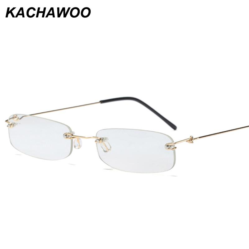 7313894bd72 2019 Kachawoo Small Rectangle Glasses Frame Rimless Narrow Decorative Eyeglasses  Frame For Women Retro 2018 New Fashion Men From Mudiaolan