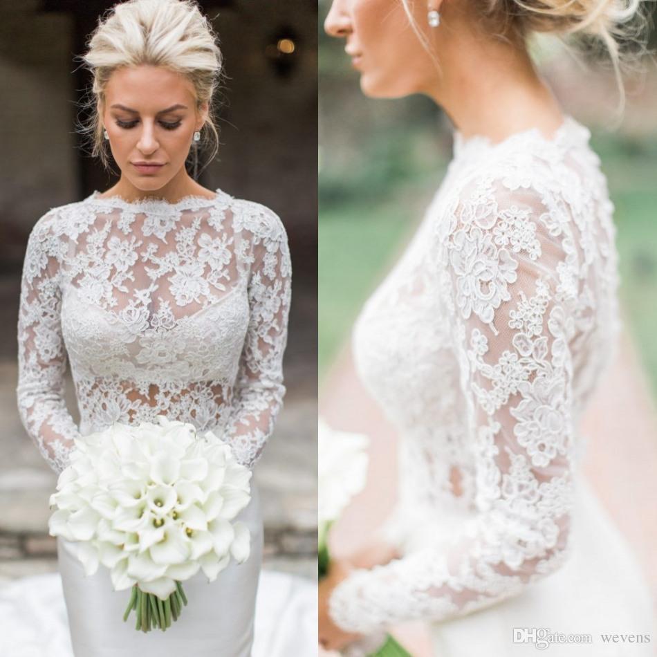 e66bc51c654c 2019 Cheap Lace Bridal Wraps Bateau Neck Buttons Back Long Sleeves Jackets  For Wedding Dresses Bolero Jacket Plus Size Capes Wraps From Wevens, ...