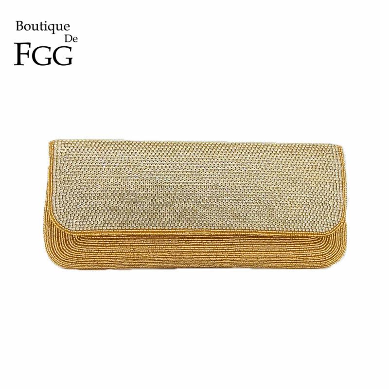 3981282a8b Boutique De FGG Indian Hand Made Beading Gold Evening Purse Wedding  Cocktail Beaded Clutch Bag Women Prom Party Crystal Handbag Silver Handbags  Clutch From ...