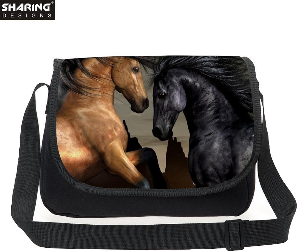 High Casual Animal horse Stampa Donne Messenger Borse a tracolla tela femminile ragazze Cross Body Travel Bag