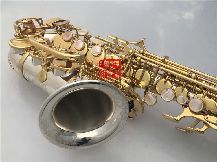 YANAGISAWA SC-9937 Saxofón Soprano de Cuello Curvo Pequeño B Plano Alta Calidad Latón Níquel Plateado Saxo Con Caja Con Boquilla