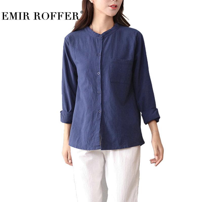 ee68828d2b7 EMIR ROFFER New Arrival 2018 White Coon Linen Blouse Women s Shirt ...