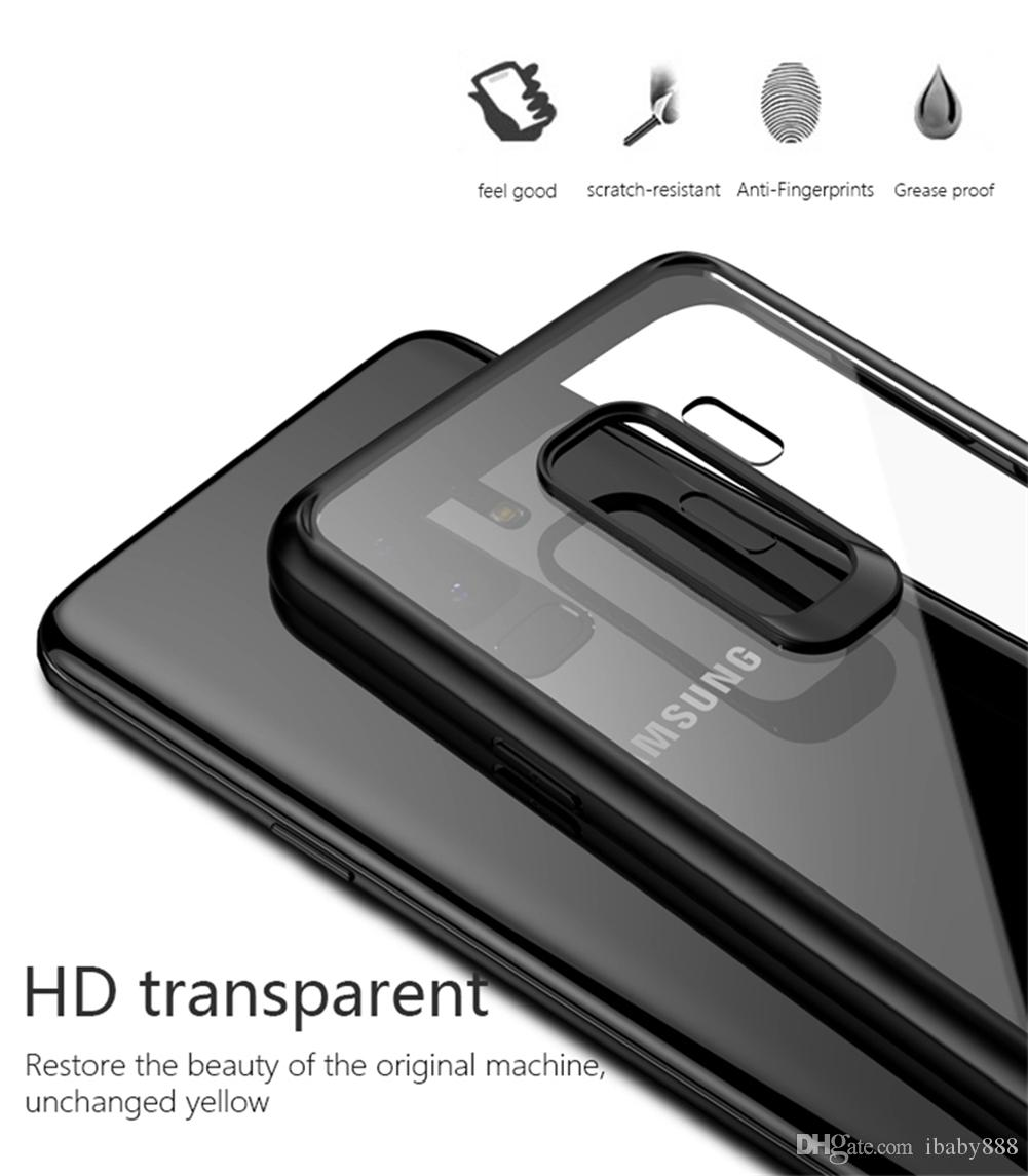 Crystal Clear HD Transparent Case PC Back Cover with Soft Silicone TPU Bumper Anti-Fingerprints Anti-Scratch for Galaxy S9+ iPhone X 8 Plus