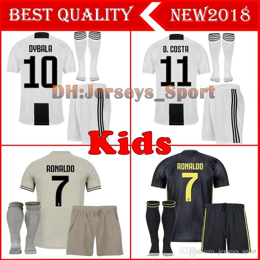 dc8b6a37c 2019 Juventus Soccer Jersey Kids Kit 2018 19 RONALDO DYBALA HIGUAIN DANI  ALVES PJANIC Marchisio Child 2018 2019 Soccer Shirt Uniforms From  Jerseys sport