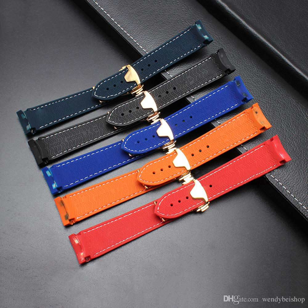 22mm wholesale high quality black orange red blue silicone rubber deployment wrist watch strap band belt for Planet-Ocean