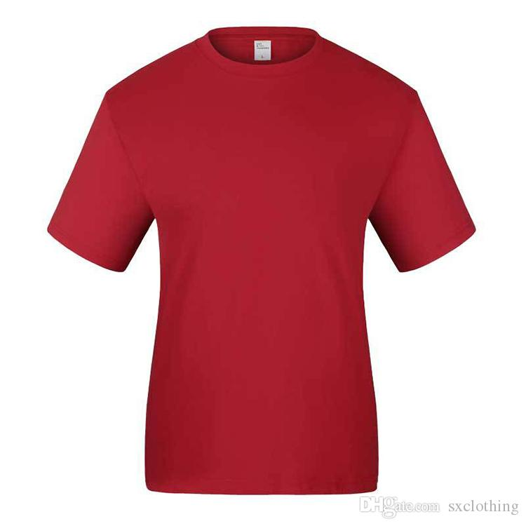 6d3da0378fe 2019 Hot Sale Anti Wrinkle Pure Red Short Sleeve Custom T Shirt Print  Labels And Tags From Sxclothing